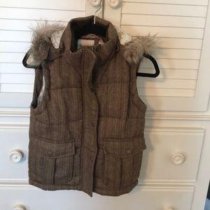 Vest with fur hood